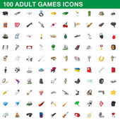 100 adult games icons set cartoon style