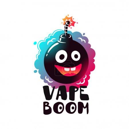 Logo Vape Boom. Label, emblem liquid vapors.