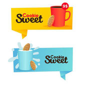 Two banners confectionery Sweet cookie labels logos and emblems
