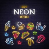 Set neon icon Neon sign bright signboard light banner