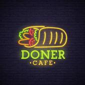 Kebab neon sign bright signboard light banner Doner logo emblem