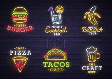 Photo pour Nourriture et boisson néon signe. Panneau néon, panneau lumineux, bannière lumineuse . - image libre de droit