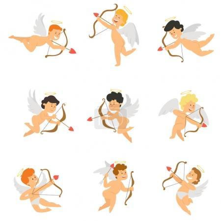Illustration pour Mascotte de Cupidon dans différentes positions. illustration vectorielle en style plat . - image libre de droit
