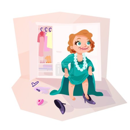 Illustration for Little kid girl trying on mothers dress and shoes, applying make up. Isolated female child in funny cartoon style. - Royalty Free Image