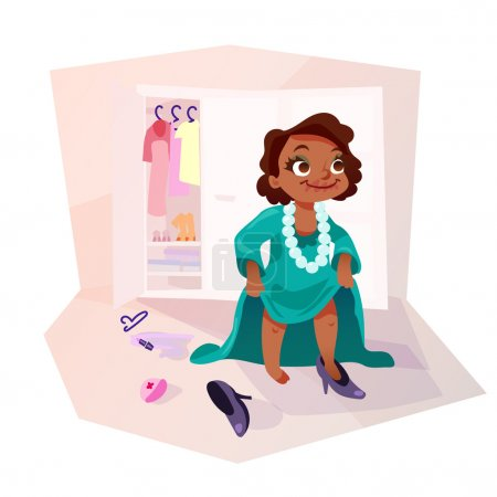 Illustration for Little african american kid girl trying on mothers dress and shoes, applying make up. Isolated female child in funny cartoon style. - Royalty Free Image