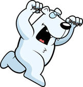 A cartoon polar bear running to attack with claws out