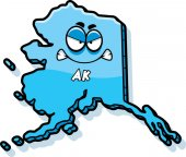 A cartoon illustration of the state of Alaska looking angry