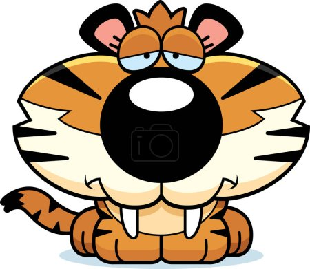 Illustration for A cartoon illustration of a saber-toothed tiger cub with a sad expression. - Royalty Free Image