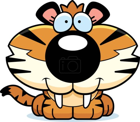 Illustration for A cartoon saber-toothed tiger cub happy and smiling. - Royalty Free Image