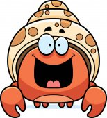 A cartoon illustration of a hermit crab looking happy