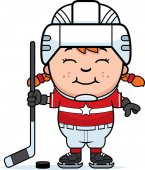 A cartoon illustration of a child hockey player smiling