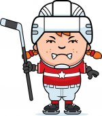 A cartoon illustration of a child hockey player looking angry