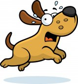 A cartoon illustration of a dog running away scared