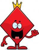 Cartoon King of Diamonds Waving