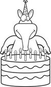 A cartoon illustration of an aardvark with a birthday cake