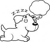 A cartoon illustration of a Golden Retriever sleeping and dreaming
