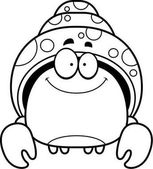 A cartoon illustration of a hermit crab smiling