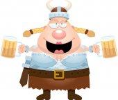 Cartoon Valkyrie Drinking Beer