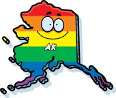 A cartoon illustration of the state of Alaska smiling with rainbow flag colors