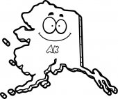 A cartoon illustration of the state of Alaska smiling