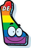 A cartoon illustration of the state of Delaware smiling with rainbow flag colors