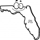 A cartoon illustration of the state of Florida smiling