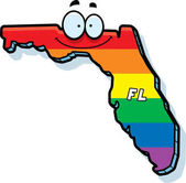 A cartoon illustration of the state of Florida smiling with rainbow flag colors