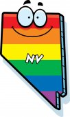 A cartoon illustration of the state of Nevada smiling with rainbow flag colors