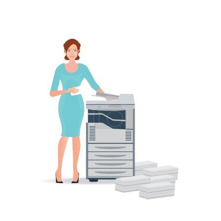 Business woman using copy machine or printing machine.