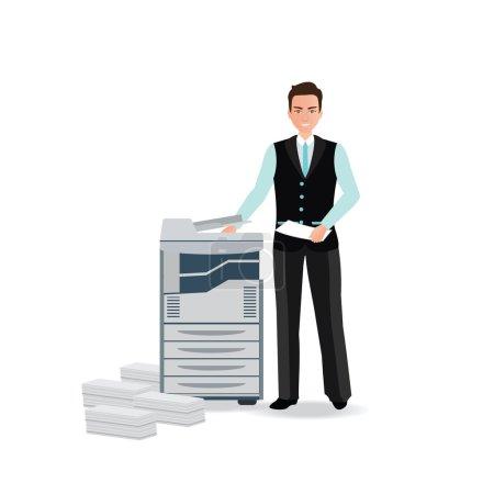 Businessman using copy machine or printing machine