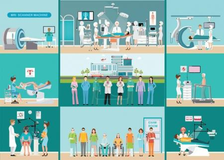Illustration for Doctors and patients in hospitals, Medical services, dental care, x-ray, Orthopedic clinics, MRI scanner machine, ophthalmic testing device machine, C Arm X-Ray, health care conceptual vector illustration. - Royalty Free Image