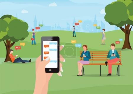 Illustration for Group of people sitting in the park and texting messages in chat using smartphone, sending message and texting to friends via messenger app, Flat modern vector illustration of chat via mobile phone. - Royalty Free Image