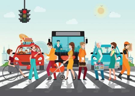 Illustration for Crosswalk path on the road with cars, automobile stopped before pedestrian crossing perspective view vector illustration, - Royalty Free Image