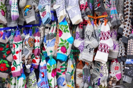 Colorful socks Christmas Market. The market is the annual tradit