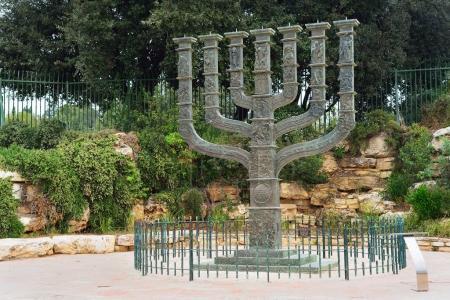 JERUSALEM, ISRAEL - APRIL, 2017: The Knesset's Menorah sculpture