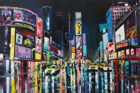Photo pour Peinture à l'huile originale sur toile, Times Square, New York, USA - image libre de droit