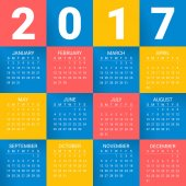 Calendar for 2017 Year on bright colorful background Week starts from sunday Modern Creative Vector Design Print Template Holiday vector illustration Paper layers Corporate business layout