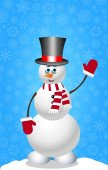 Christmas and new year card with snowman in cylinder hat mittens and scarf