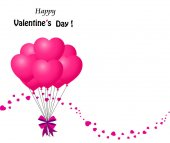 Valentines  card with bunch of pink heart shaped balloons
