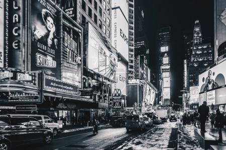 Photo for New York City, USA- March 18, 2017: Times Square, featured with Broadway Theaters and animated colorful LED signs, stores, and lots of tourists and locals, is a symbol of NYC and the USA in Manhattan. - Royalty Free Image