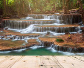 Waterfall in Deep Forest of Huay Mae Khamin Waterfall and Wood Pier