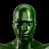 3D rendering. Faceted green robot face with green eyes looking front on camera.