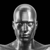 3D rendering. Faceted silver robot face with eyes looking front on camera