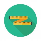 Colorful tape measure flat square icon