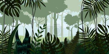 Photo pour Vecteur forêt tropicale humide Jungle paysage arrière-plan avec feuilles, fougère, isolé - image libre de droit
