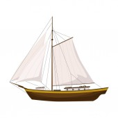 Sailing boat  Vector color illustration Isolated Cartoon style