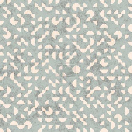 Raster Seamless Retro Grunge Geometric Circle Shapes Pattern