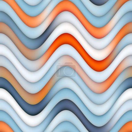Raster Seamless Blue Orange Lines Gradient Wavy Stripes Pattern
