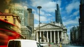 View of the Royal exchange near the Bank of England, in the City of London