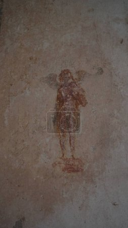 Ancient Roman wall paintings at Pompeii, Italy,...